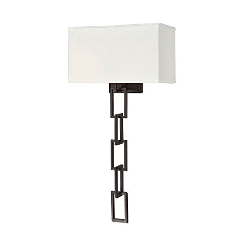 Dimond Lighting 1141-092 Anchorage - Two Light Wall Sconce, Oiled Bronze Finish with White Fabric - Anchorage Dimond