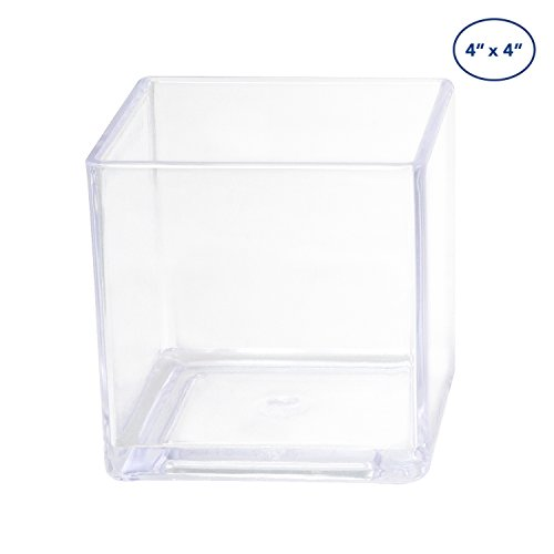 Plastic Vase Flower (Royal Imports Flower Acrylic Vase Decorative Centerpiece For Home or Wedding by Break Resistant - Cube Shape, 4