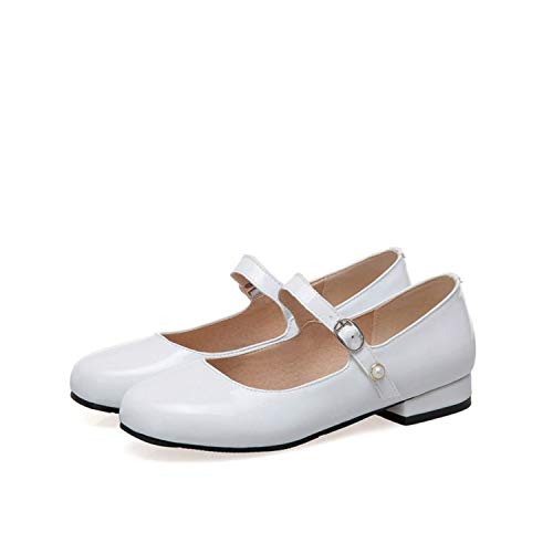 Jifnhtrs Flat Shoes Women Mary Jane Buckle Leather Shoes Flats Girl School Shoes Ballerina Flats,White,39