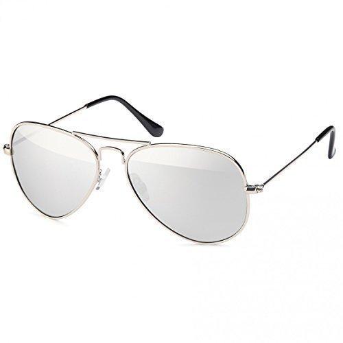 Retro Polarisiert Piloten-Brille Sonnen-brille Aviator Wayfarer Etui Nerd 20272, Rahmenfarbe:Silber