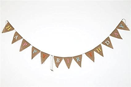 Dasuke Banderole En Toile De Jute Happy Birthday En Anglais