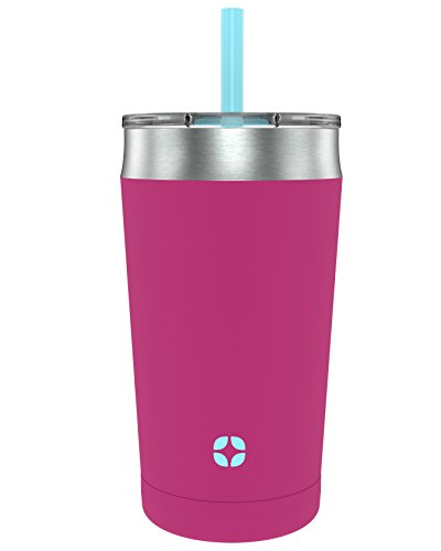Ello Rise Vacuum Insulated Stainless Steel Kids Tumbler with Optional Straw, Popsicle Pink, 12 Oz