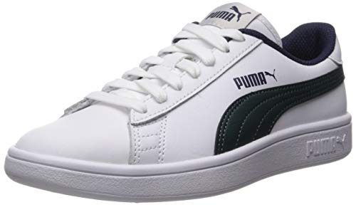 PUMA Unisex Smash V2 Sneaker, White-Ponderosa Pine-Peacoat, 4 M US Big Kid