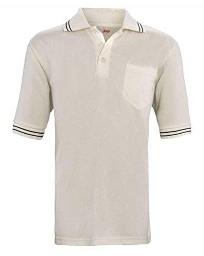 Adams USA Short Sleeve Baseball Umpire Shirt - Sized for Chest Protector, Cream, X-Large