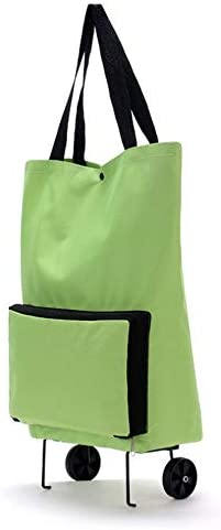 #N/V Large Capacity Thickened Canvas Lightweight Foldable Shopping Trolley Wheel Bag Solid Color Traval Cart Luggage Bag