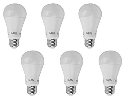 SleekLighting 9W A19 Dimmable LED Bulb (6 Pack)-65W Equivalent-General-Purpose Household Lighting Bulb -Warm White (3000k) - 800lm, HL Chip, 240 Degree, E26, UL & ES Listed - Uses 9 Watts of Energy