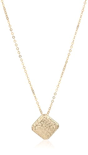 14k Yellow Gold Italian Diamond Shape Slide Pendant Necklace, 17.5