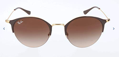 Ray-Ban RB3578 Round Metal Sunglasses, Brown on Gold/Brown Gradient, 50 mm (Ray Ban 3578)