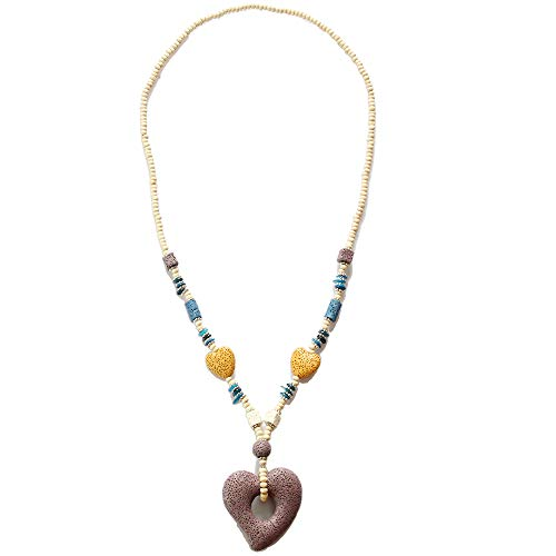 BRLTime Women Necklace Purple Heart Lava Stone Handmade Jewelry Nature Stone Collares Colar Wooden Beads Statement Bib Long Chain Fashion ()