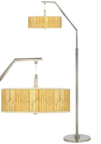 (Bamboo Mat Giclee Shade Arc Floor Lamp - Giclee Glow)