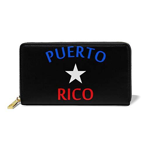 Hand Jinl Puerto Rico Women Organizer Leather Wallet Clutch Long Purse (Puerto Rico Wallet)