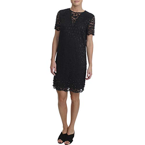 Juicy Couture Women's Soft Woven Leopard Lace Embellished Shift Dress Pitch Black 4 - Juicy Couture Leopard