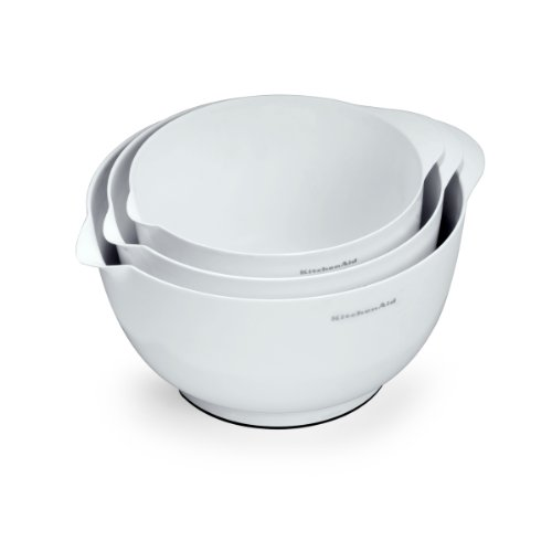 KitchenAid Classic Mixing Bowls, White, Set of 3 (Kitchen Aid Mixing Bowl Set compare prices)