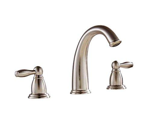 BWE Widespread Bathroom Faucet Vanity Sink Lavatory Deck Mount Dual Knobs Mixer Tap Brushed Nickel