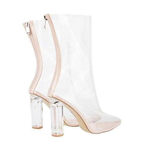 T-JULY Pointed Toe High Heel Mid Calf Clear PVC Transparent Luxury Shoes Women Chunky Crystal Boots