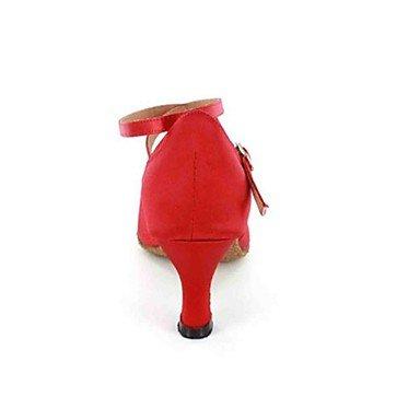 XIAMUO Anpassbare Damen Tanz Schuhe Kunstleder Kunstleder Latin/Modern/Salsa Fersen angepasste Ferse Praxis Schwarz/Rot/Andere, Schwarz, EU/US8.5 39/UK6.5/CN 40
