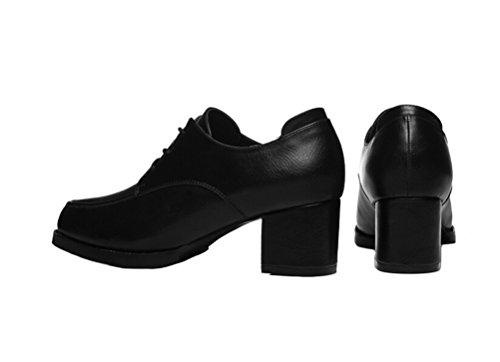 Kvinnor Nya Stil Mode Chunky Klack Skor Elegant Låg Topp Platåskor Svart