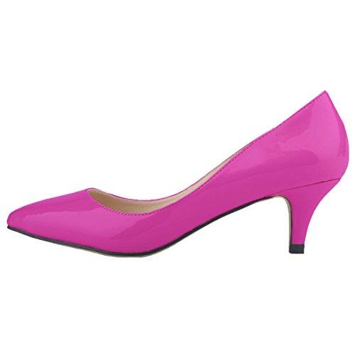 HooH Women's Kitten Heel Pointed Toe Work Dress Pumps Slip On Purple jq7VJ