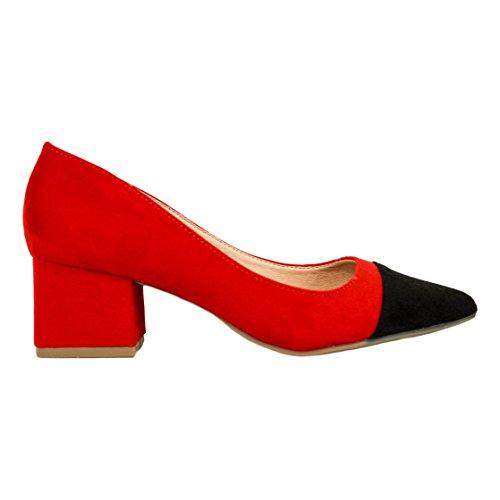 Rojo Zapato Bicolor 5 De Centímetros Antelina Tacón Buonarotti 0PdOxd
