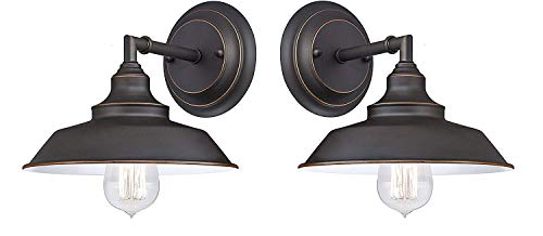 Westinghouse Iron Hill One-Light Indoor Pendant, Oil Rubbed Bronze Finish & Highlights with Metal Shade Iron Hill One-Light Indoor Pendant (One Light 2 Pack)