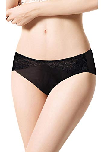SilRiver Women's 100% Silk Lace Brief Panties, Sexy and Comfortable Underpants Hipster, Recommend for Sensitive Skin(Large,Black)