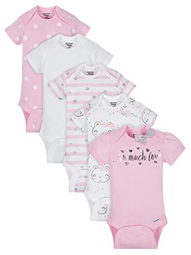 Gerber Baby Girls Onesies Bodysuits 5 Pack, Organic So Much Love, 12 Months