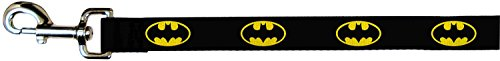 Buckle Down Black/Yellow Batman Shield Dog Leash (4-ft x 1/2