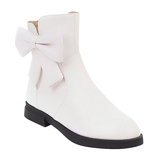 Mee Shoes Women's Chic Low Block Heel Bow Zip Ankle Boots White K2jS8Po9c