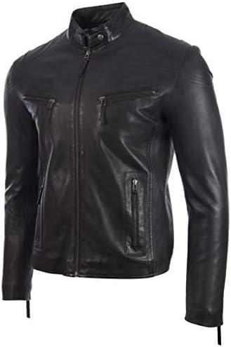 Aviatrix Uomo Molto Elegante Vera Pelle Giacca di Moto Moda (UH2P)