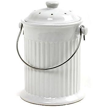 Amazon.com: Norpro – 93 1 Galón Blanco Tacho de compost ...