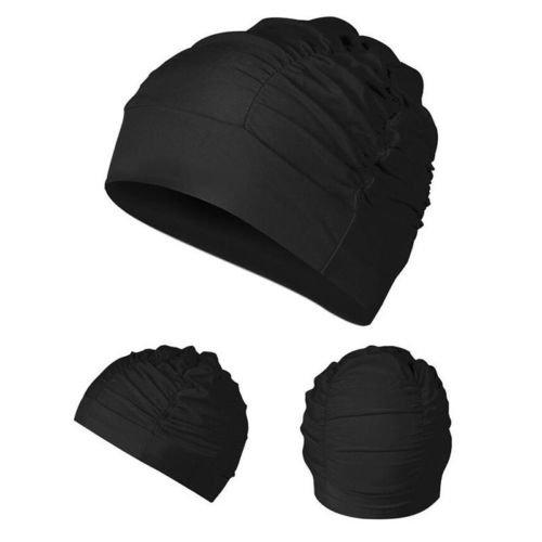 University Drape (NPLE--Women Drape Elastic Swimming Cap Hat for Dreadlocks Long Hair Summer Cap (Black))