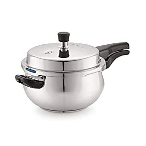Cuisinchef Fiesta Induction Base Stainless Steel Outer Lid Pressure Cooker, 5 litres, Silver