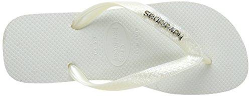 Havaianas Top Logo Metallic Silver Chanclas, mujer Blanco (White/Pearl 3555)