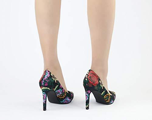 High Flache Damen High Frauen Schuhe Hochzeit Spitz Schuhe Heels Heels Schuhe Schuhe Ferse Braut Kleid Bestickt dünne Damen Schuhe HCBYJ Einzelne gH0xdng