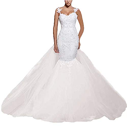 Chady Women' Mermaid Lace Backless Spaghetti Wedding Dresses for Bride 2018 Ball Gown Wedding Dresses with Detachable Skirt White