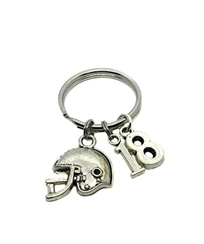 Football Key Chain - Heart Projects Custom Football Helmet & Jersey Number Charm, Keychain, Bag Charm, Player Mom Parent Gift