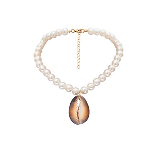 Pearl Seashell Necklace,Haluoo Boho Vintage Natural Shell Pendant Necklace Elegant Freshwater Pearl Beads Choker Necklace for Women Girls Ladies Generous Noble Jewelry (White)