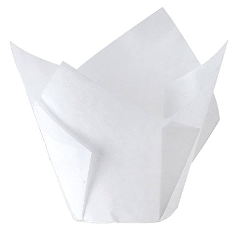Made in USA; Large Size White Paper Tulip Cupcake Muffin Liners; Swedish greaseproof paper allows you to bake, decorate and serve in one beautiful cup (100) - Jumbo Cupcake Wrappers