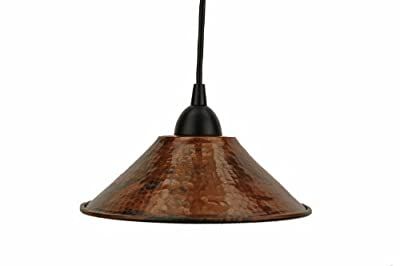 Premier Copper Products Hand Hammered Copper Cone Pendant Light, Oil Rubbed Bronze