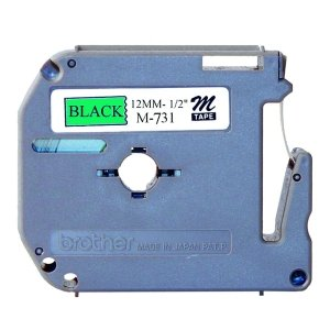 brother int l (supplies) m731 1/2in black on metallic green non-laminated tape pt-85 100 (Metallic Green Non Laminated Tape)