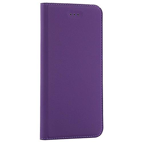 JIALUN-carcasa de telefono Caja de cuero sintético del teléfono del cuero sólido, cierre magnético caja del soporte del folio del bookstyle con la ranura para tarjeta para el iPhone 6 más y 6s más ( C Purple