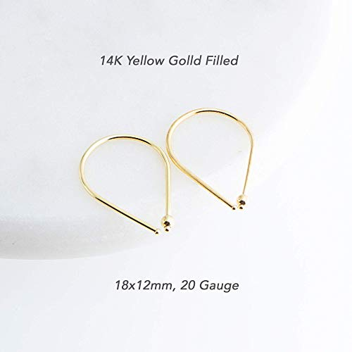 18mm Gold Filled Wire 20 Gauge Drop Arc Earrings with Tiny Ball (20 Gauge Size Horseshoes)