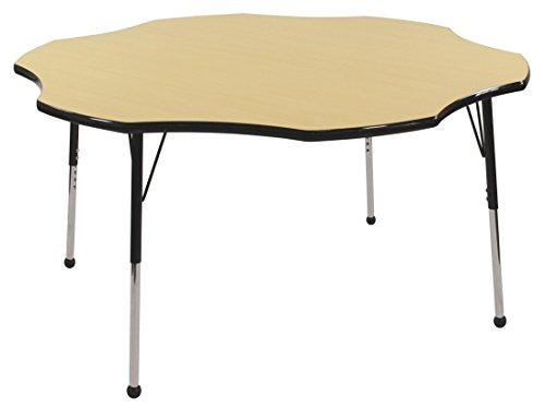 ECR4Kids 60'' Flower Shape Activity Table, Maple Top/Black Edge, Standard Legs w/ Ball Glides and Six 12'' Navy School Stack Chairs w/ Ball Glides by ECR4Kids