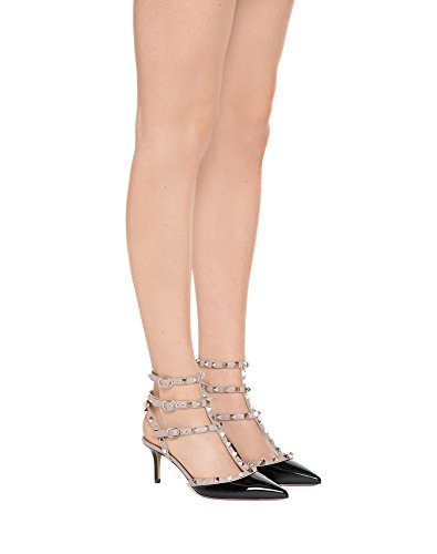 Punta Cinturino Punta Borchie Caitlin Sandali Heel Gold con Black Slingback Kitten con a Pan Donna Nude Studs Stud Patent Dress Strap EqrzwcI0z