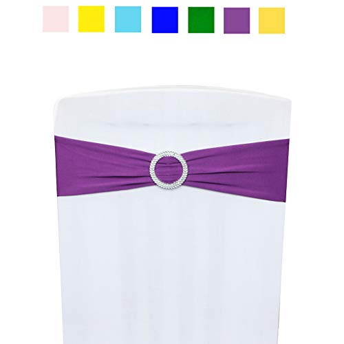 Ymeibe Spandex Chair Cover Sashes 30-Pack Elastic Wedding Chair Bands with Buckle Chair Sashes Bows for Party Bridal and Events Supplies Baby Shower Banquet(Purple)]()