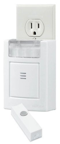 NuTone LA204WH Wireless Plug-In Door Chime with Built-In Strobe Light, Receiver and Button, White by Broan