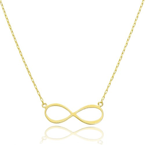 14K Yellow Gold Forever Infinity Necklace (16 Inches, Elongated Cable Chain)