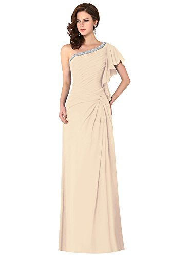 One Draped Shoulder Sleeve Women's Chiffon Ruched Crystals Bridesmaid Dress Knot Champagne Dasior ZwqCTUn