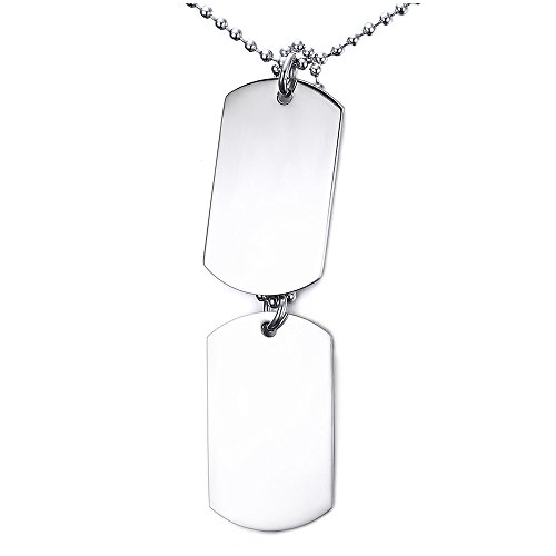 - YIKOXI White Black Silver Hue 2PCS Stainless Steel Pendant Necklace Army Name Double Dog Tag,Silver