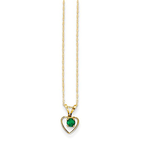 14k Yellow Gold 3mm Green Emerald Heart Birthstone Chain Necklace Pendant Charm Kid Fine Jewelry Gifts For Women For Her